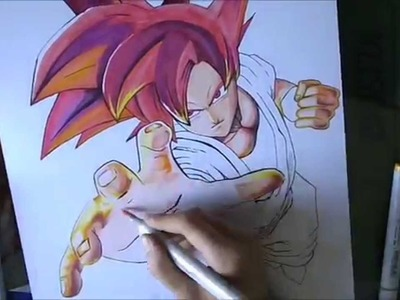 [DBZ] How to draw Goku Super Saiyan God. Comment dessiner Goku