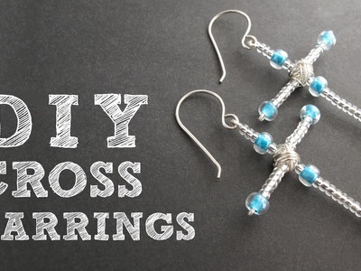 DIY Beaded Cross Earrings - Christmas Earrings Tutorial