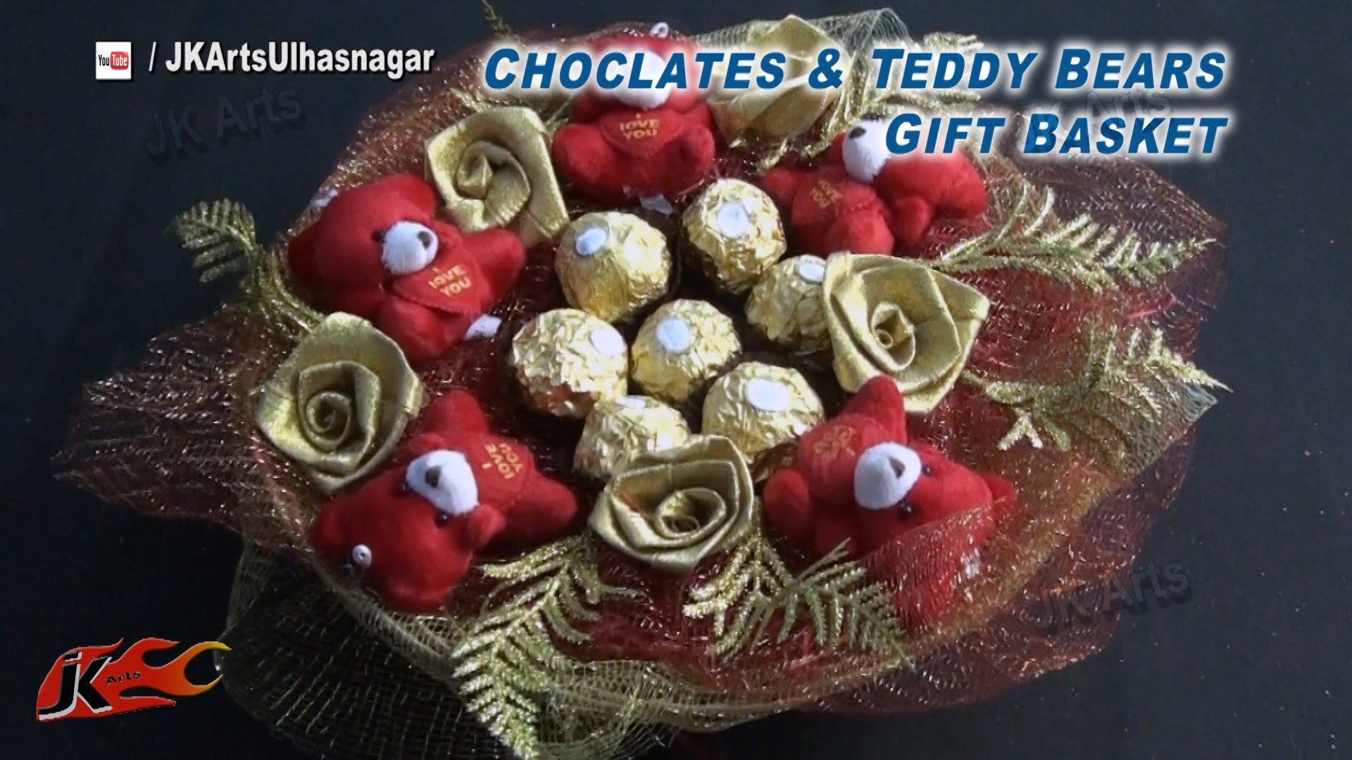 DIY Chocolates and teddy bear gift basket  | Valentine's Day Gift Idea | How to make  |JK Arts 836