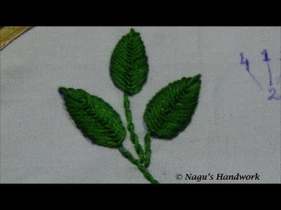 Fly Stitch Leaf (Closed)-Hand Embroidery Tutorial By Nagu's Handwork