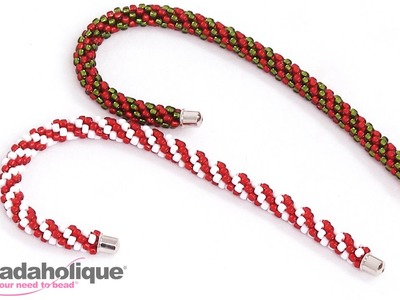 How to Make a Beaded Kumihimo Candy Cane Christmas Ornament