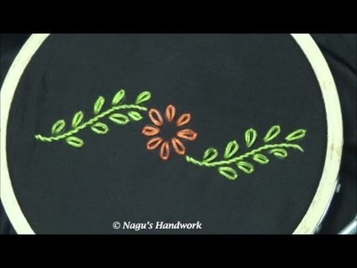 Lazy Daisy Stitch-Detached Chain Stitch - Hand Embroidery Tutorials By Nagu's Handwork