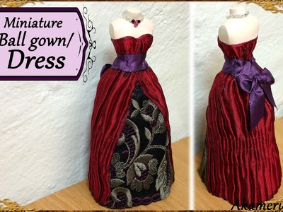 Miniature  Doll Dress.Ball Gown - Fabric Tutorial