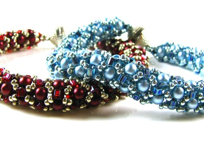Tubular Netted Pearl Bracelet with Miyuki Hex Beads