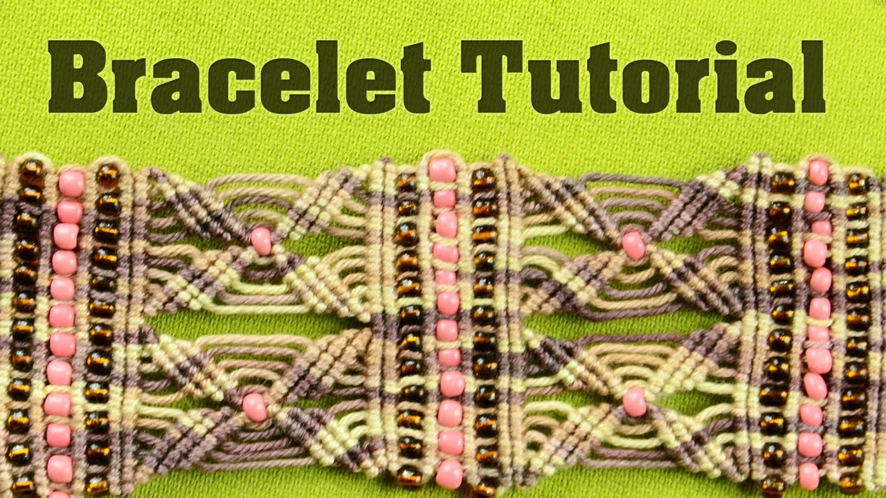 Yarn Cuff Bracelet with Beads | Tutorial by Macrame School