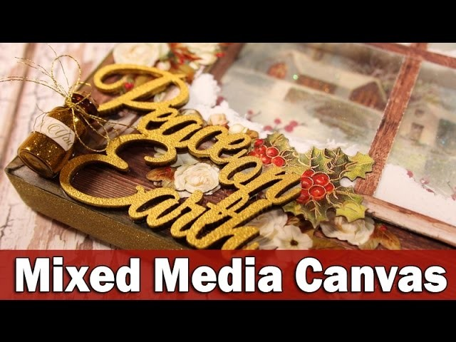 Christmas mixed media canvas