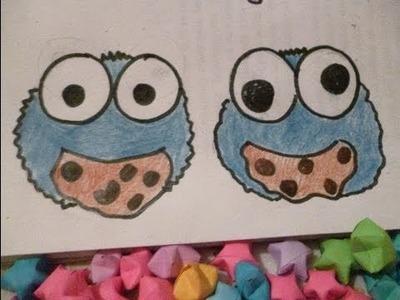 Cookie Monster Draw Dibuja al Monstruo Come Galletas kawai Fácil y divertido