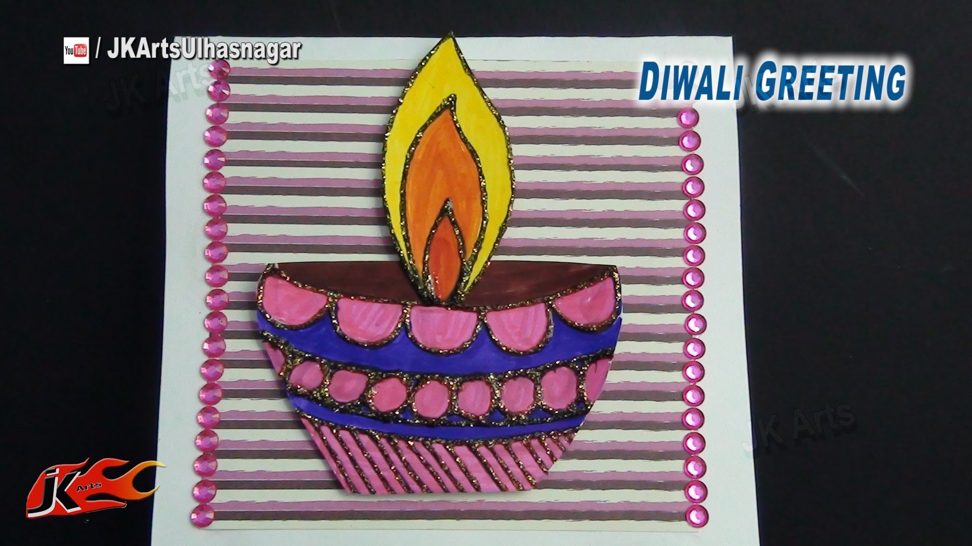 DIY Diwali 3D Greeting Card | How To Make | JK Arts 770