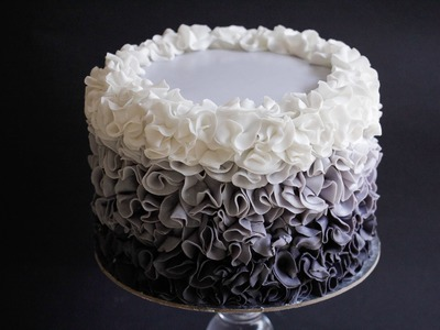 Fondant Ruffle Cake Ombre Style Tutorial