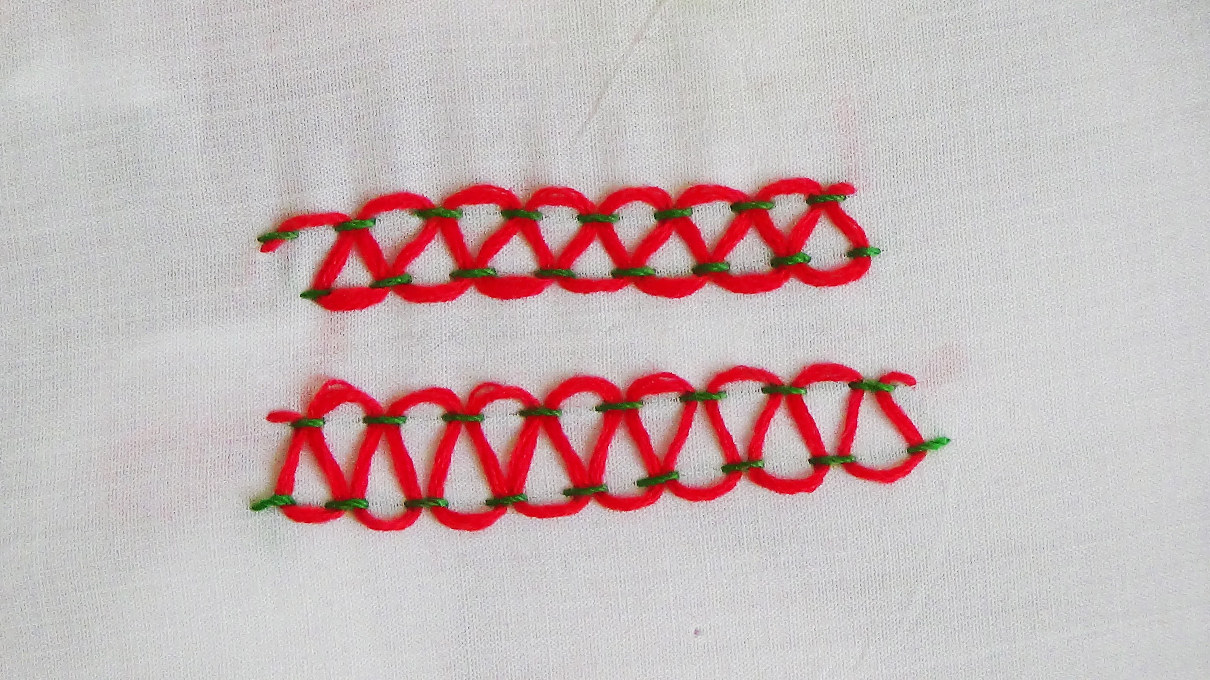 Hand Embroidery: Stepped Threaded Running Stitch