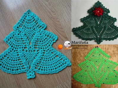 How to crochet Christmas tree doily hot pad pattern by marifu6a