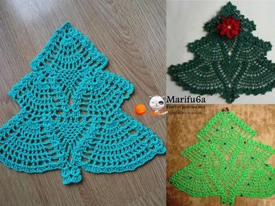How to crochet Christmas tree doily hot pad pattern by marifu6a