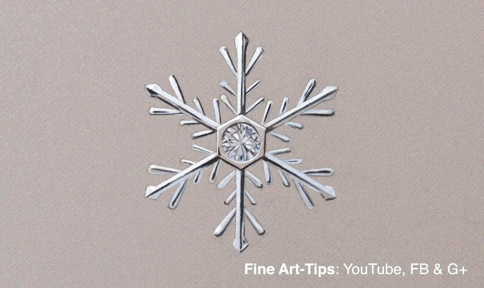 How to Draw a Snowflake Decoration - Jewelry With Diamond