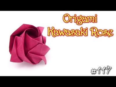 Origami Rose Kawasaki easy - Yakomoga Origami tutorial