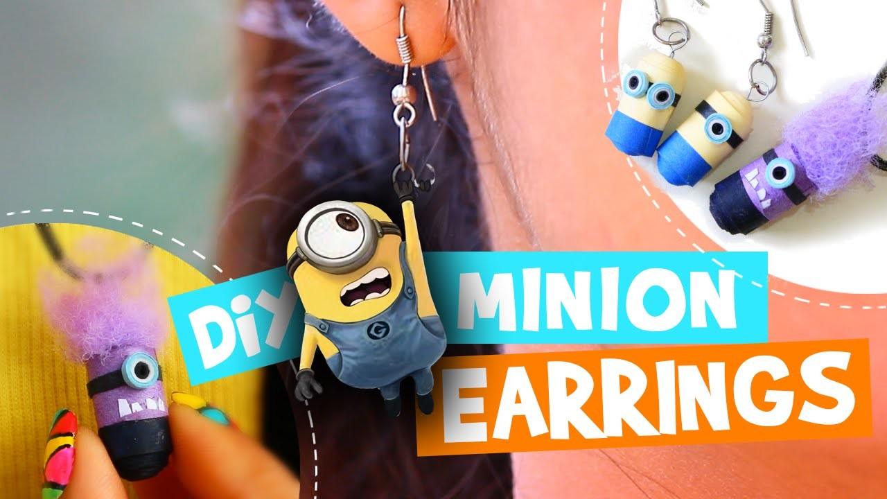 Passtime DIY # 06: How to make Quilling Paper Minion Earrings in 3 easy Steps.| DIYStarR