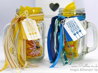Quick Decorated Drinking Jars using Stampin' Up! Ribbons