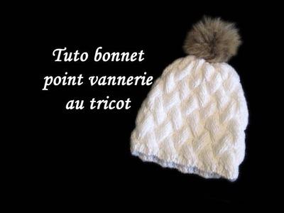 TUTO BONNET POINT DE VANNERIE AU TRICOT FACILE hat point of basketry easy to knit