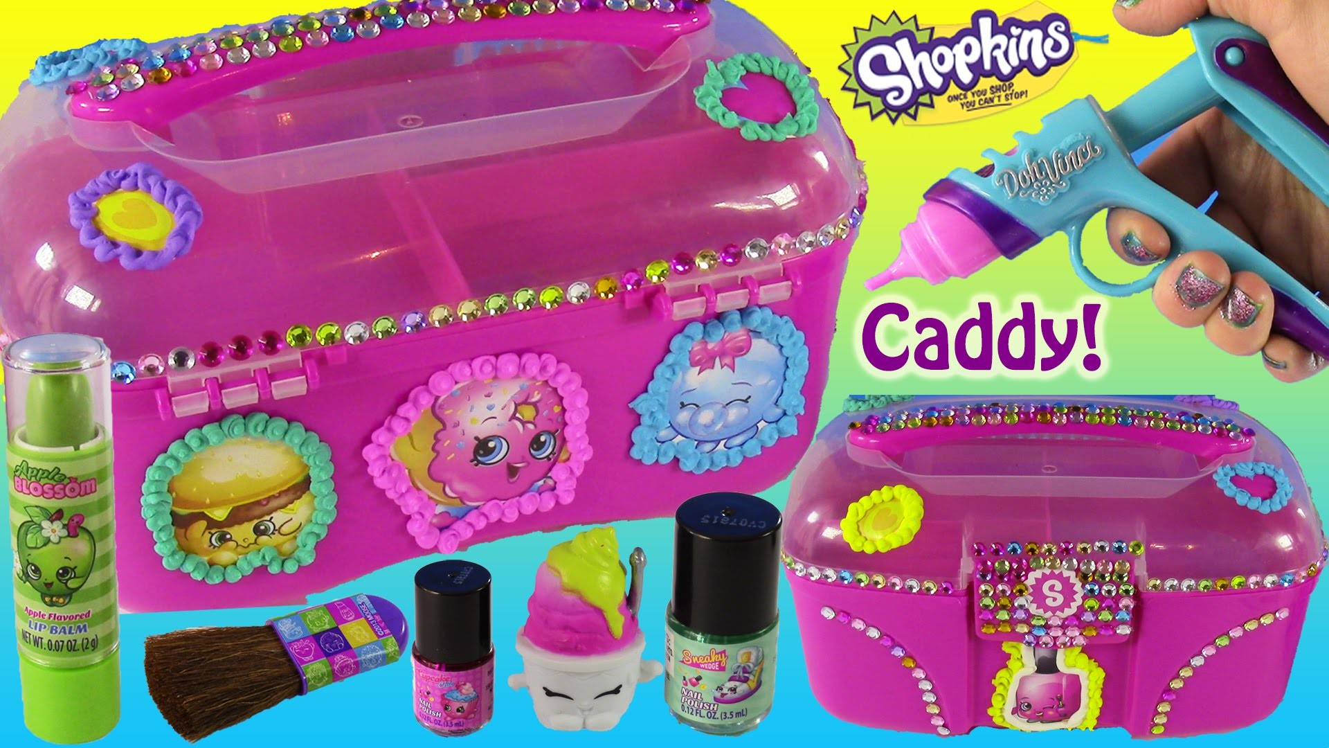 DIY SHOPKINS Makeup & Toy Caboodle! Decorate with DohVinci! Nail Polish & Lip Gloss! FUN