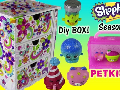 DIY Sticky Gems Jewelry Chest with Secret DIary! SHOPKINS Season 4 Petkins 12 pack! Crafty Fun