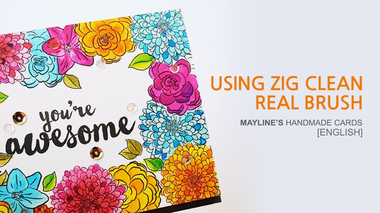 Handmade cards - Card making - Using Zig Clean Real Brush