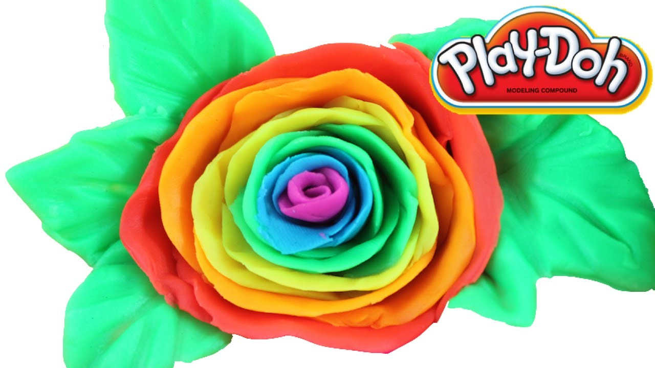 Play-Doh How to make RAINBOW Flowers! DIY Learn Colors!