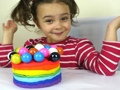 DIY Giant Play Doh Rainbow Cake with toy Balls