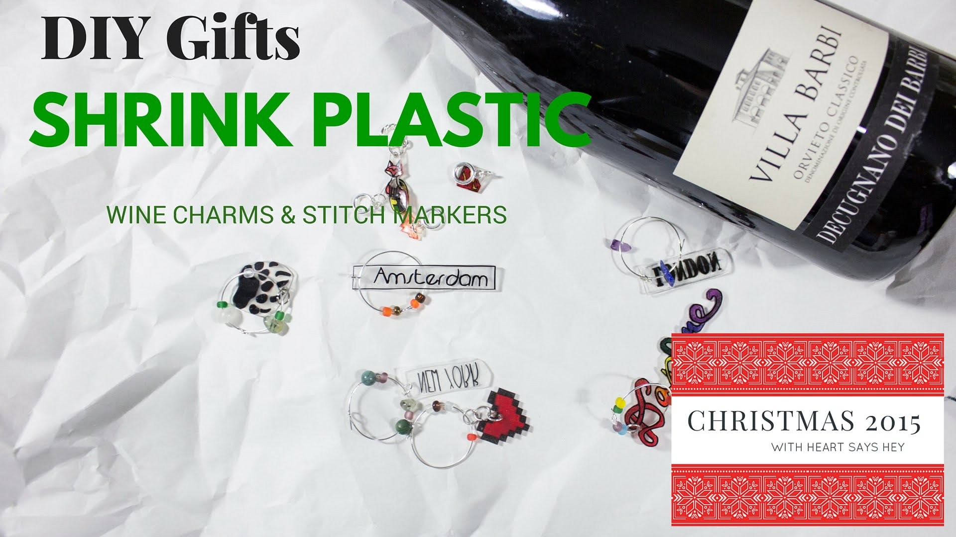 DIY Gifts: Shrink Plastic Wine Charms & Stitch Markers | Homemade for the Holidays