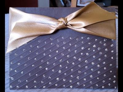 Elegant Embossed Lines and Sparkles Handmade Card
