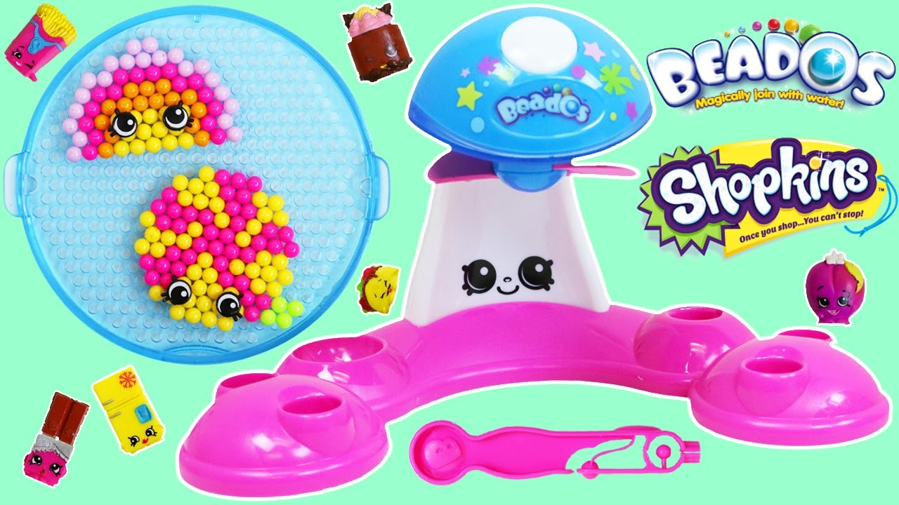 Shopkins Sweet Spree Beados Part 2 Quick Dry Design Station DIY Magic Beads in Shopkins Shapes!