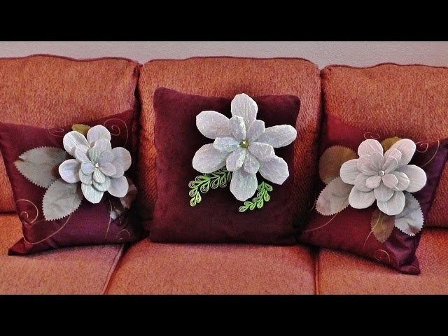 Beautiful Fabric Rose Flower Pillow Decorating DIY