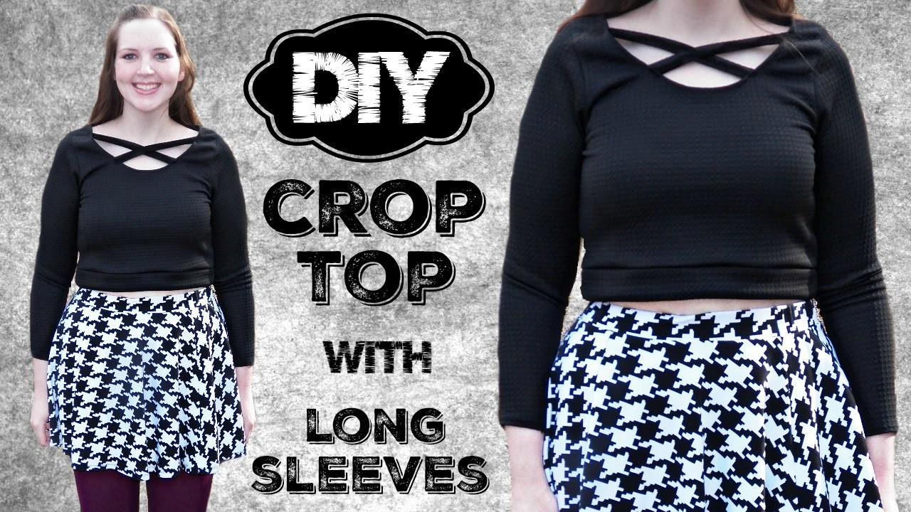 DIY Crop Top with Long Sleeves - Sewing Tutorial - How to Sew a Shirt