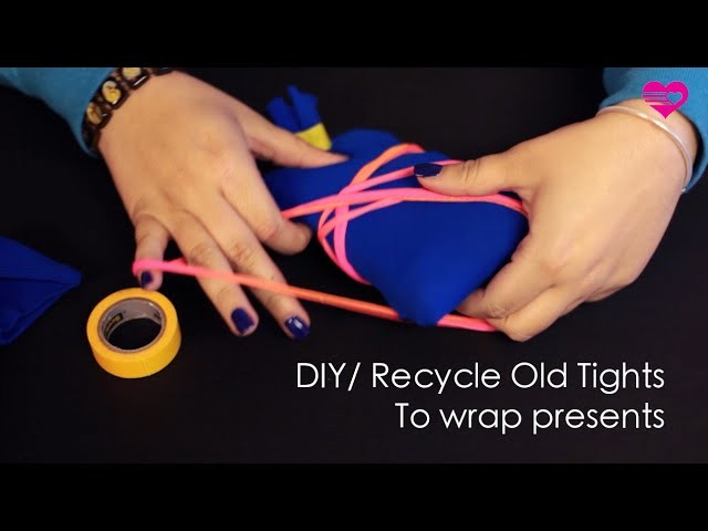 DIY Recycle Old Tights and Socks to Wrap Presents