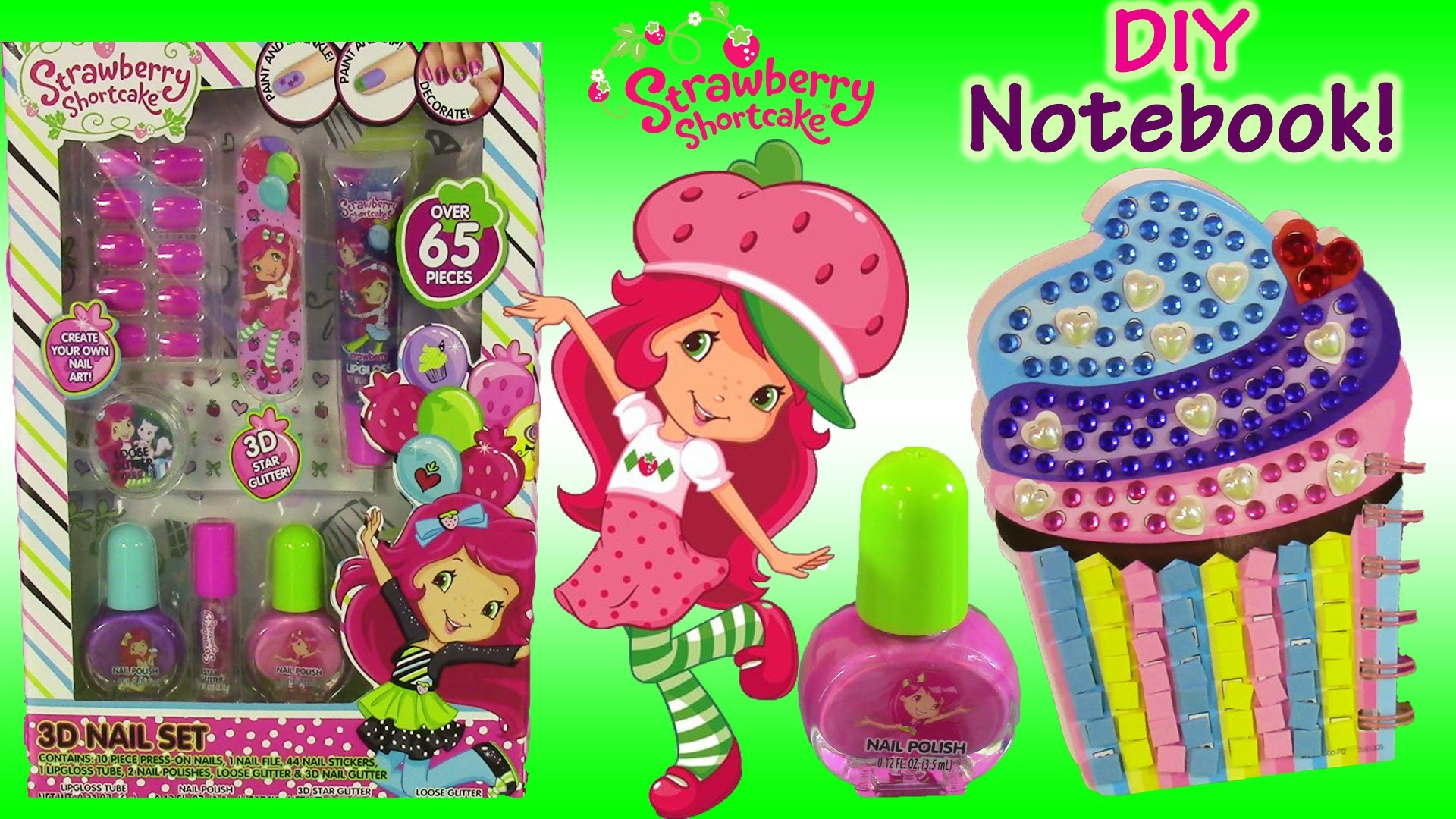 Strawberry Shortcake 3D Nail Set! Nail Polish Lip Gloss! DIY Cupcake Stick 'N Style Book! FUN