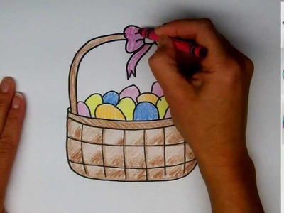 Drawing: How To Draw and Easter Basket with Eggs - Step by Step - Easy Drawing tutorial