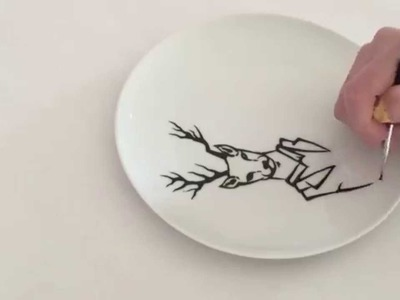 Drawing on a plate: Mr. Deer
