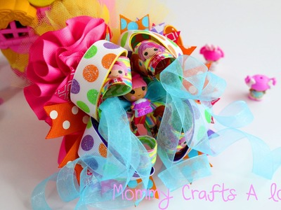 How to make a 5 inch OTT hair bow using lalaloopsy tinies (Let's make a bow)