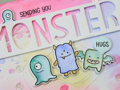 How to make a watercolor monster hugs card