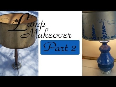 Lamp Makeover: Blue Delphinum Lampshade with Homemade Stencil