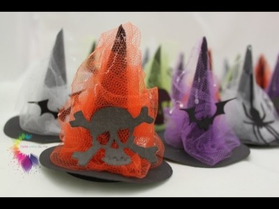 Tutorial Cappellini di carta da stregha per Halloween con sorpresa-How to make a Paper Witch Hat DIY