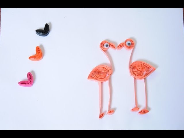 Beautiful Cranes Quilled greeting card love theme  - DIY using quilling