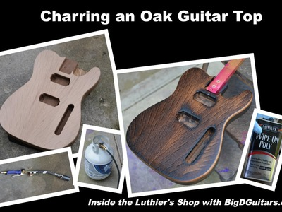 "DIY Charred.Burnt Oak Topped Guitar Body - ""flame top"""