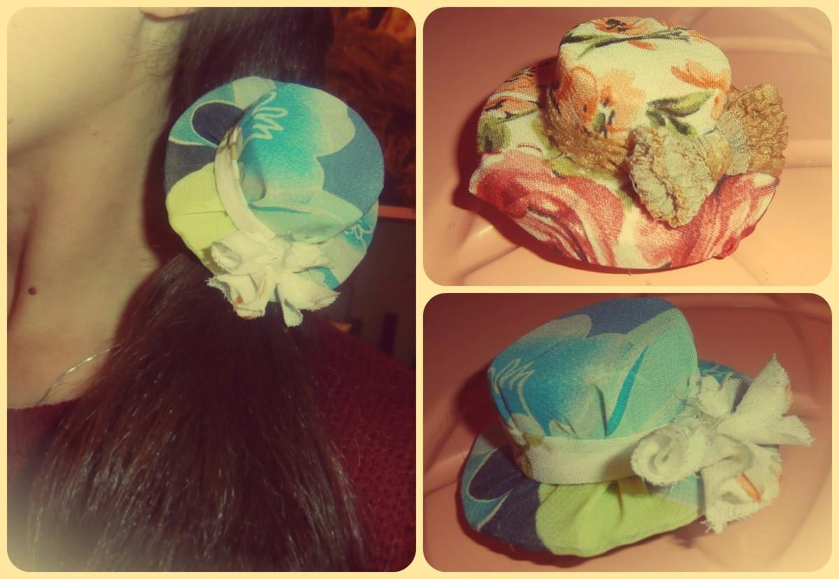 DIY. Snalica sesir. hair clips hat. sombrero horquillas