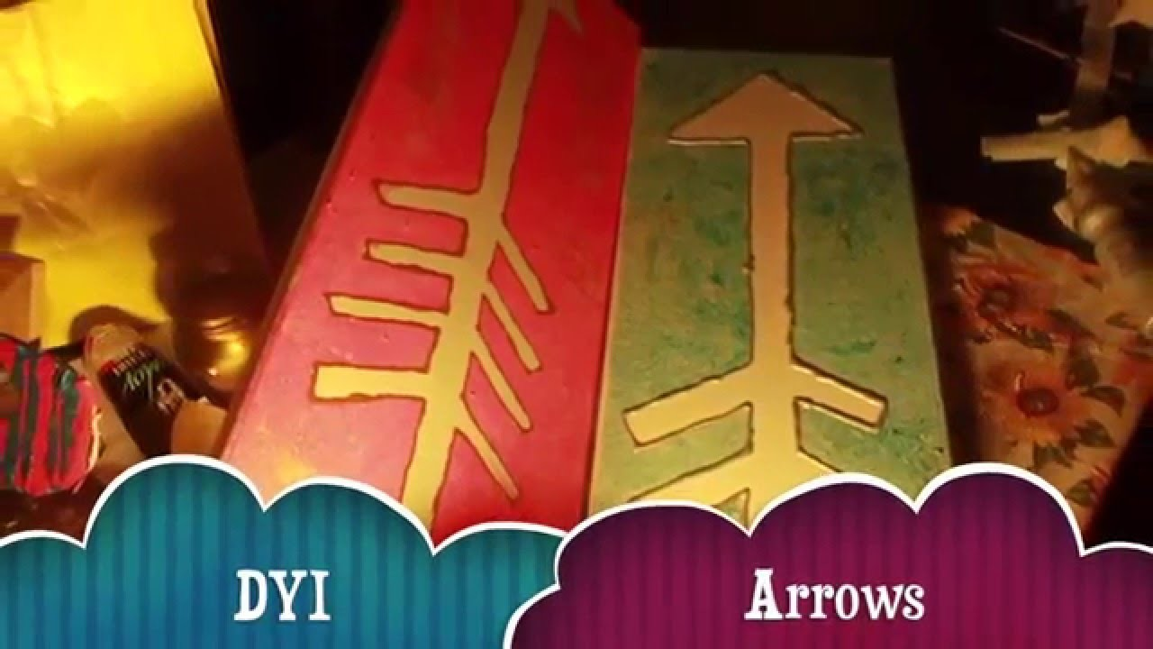 DIY arrow painting on canvas for room decor