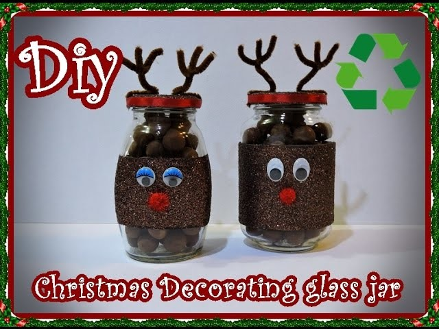 Diy. Christmas Decorating Glass Jar