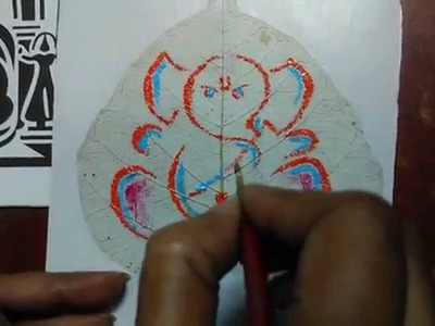 How to Make a acrylic painting  on Skeleton Leaf !!