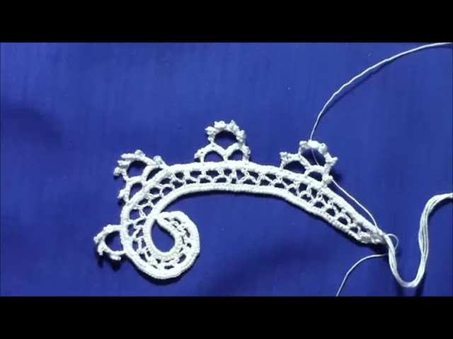 Irish Crochet Lace, a deep border design, Scroll part3