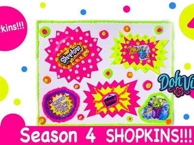 Shopkins Season 4 Unboxing - NEW Petkins  Plus DIY DohVinci Shopkins Poster - Play Doh Art Craft