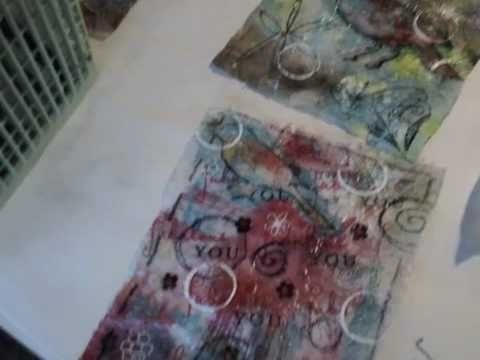 Art Recycling:  Mixed Media Dryer Sheets:  a tutorial Part One