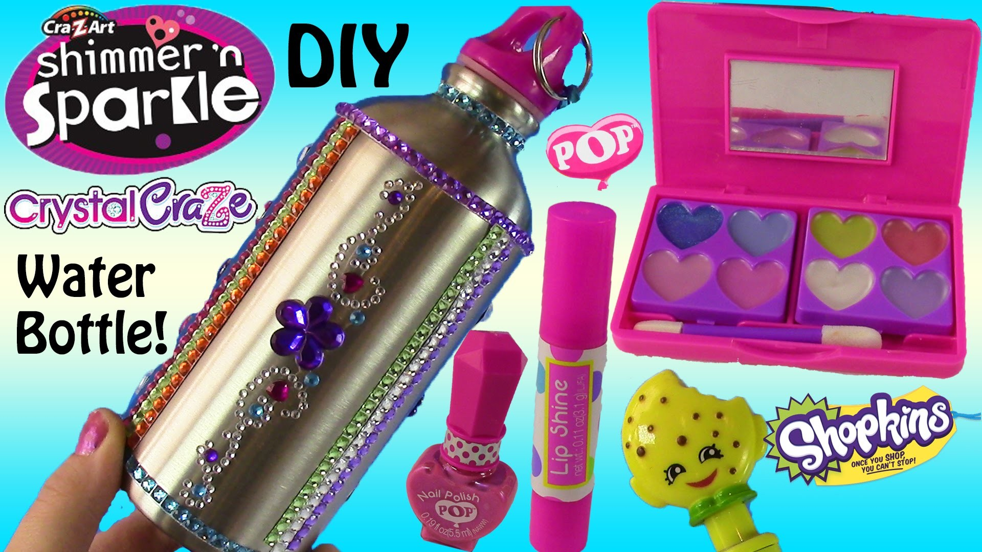 Cra-Z-Art Shimmer 'n Sparkle DIY Water Bottle!Beauty Set Lip Gloss Nail Polish! SHOPKINS Pen