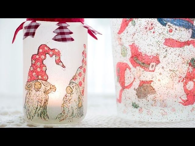 DIY Christmas decoration - Sparkly candle holders